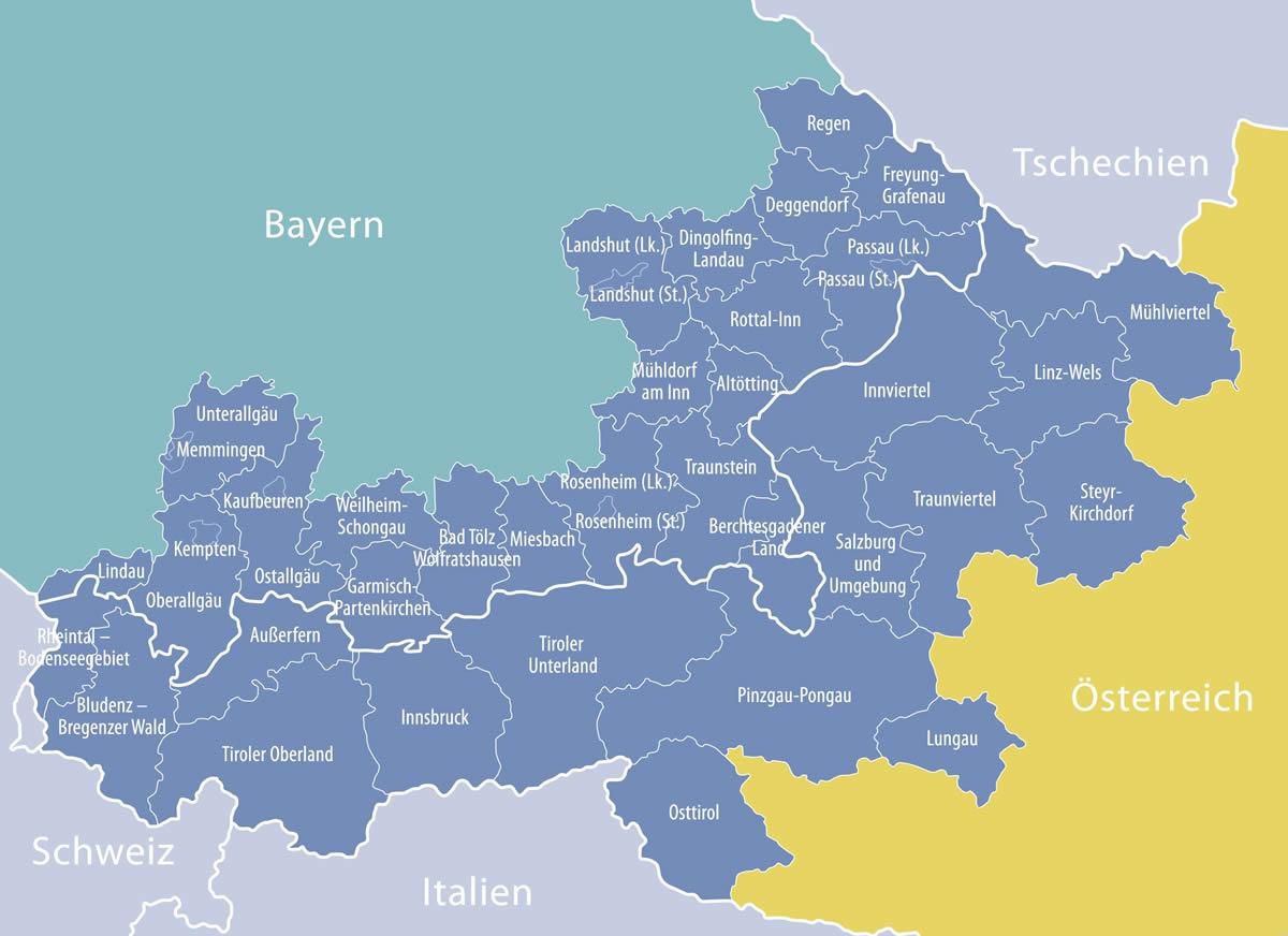Karte des Interreg Programmraums: Oberösterreich, Salzburg, Tirol, Vorarlberg, Niederbayern, Oberbayern, Schwaben