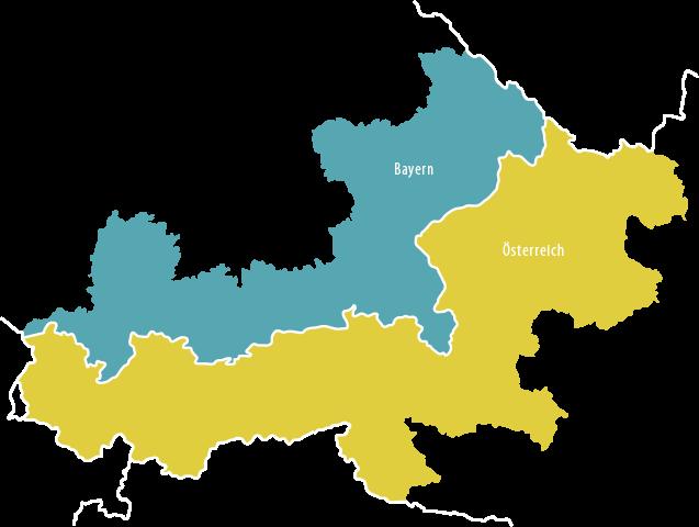 Landkarte des Interreg-Programmraums Österreich-Bayern