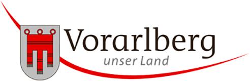 Logo des Landes Vorarlberg mit dem Landeswappen und Text Vorarlberg unser Land