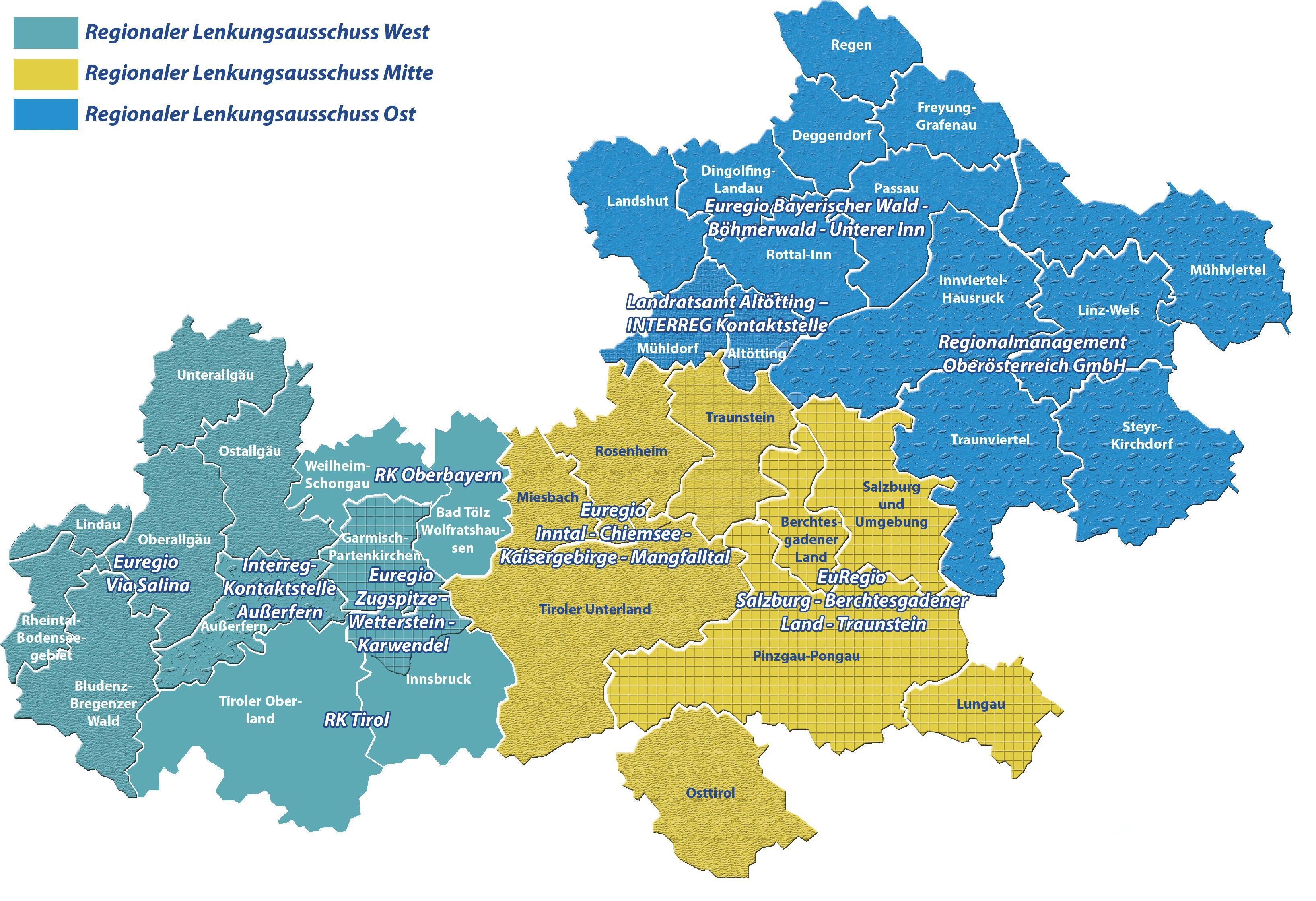 Karte der 3 Regionalen Lenkungsausschüssen